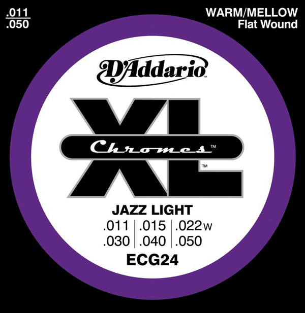 11-50 Jazz Light D'Addario ECG24 Chromes Flat Wound