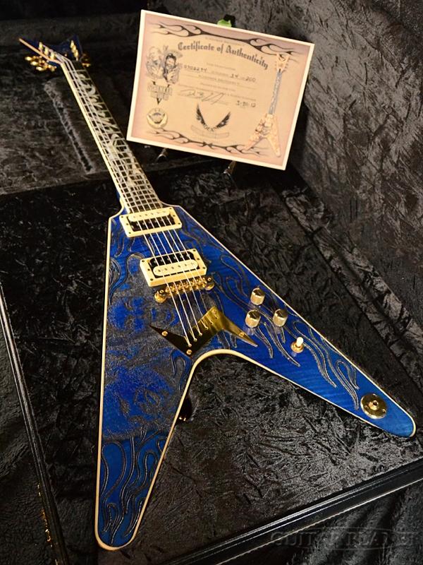【中古】Dean SCHENKER BROTHERS V -TRANS BLUE- 2000年代製[ディーン][シェンカーブラザーズ][Michael Schenker,マイケルシェンカー][トランスブルー,青][Flying V,フライングVタイプ][Electric Guitar,エレキギター]【used_エレキギター】