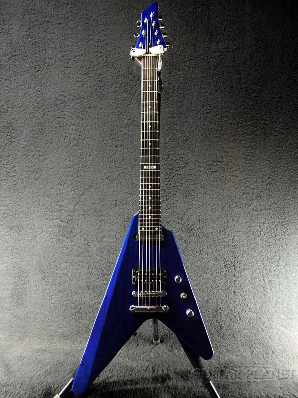 【中古】Edwards E-ez-180-7SN -Blue in Black- 2014年製[エドワーズ][ESPブランド][GRAN RODEO,グランロデオ][e-zuka][ブルーインブラック,青,黒][Flying V,フライングVタイプ][Electric Guitar]【used_エレキギター】