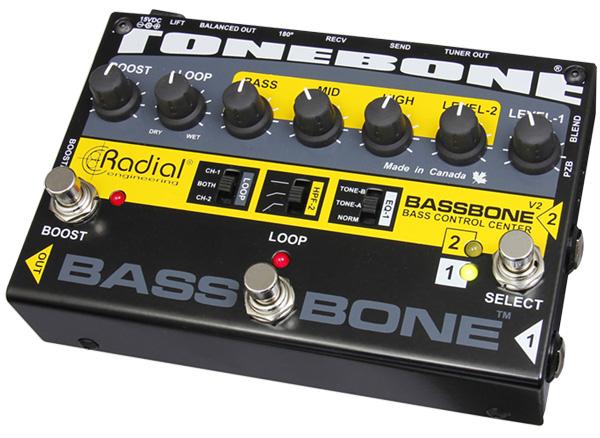 Radial Bassbone V2 新品 2chベース用プリアンプ/DIボックス[ラディアル,ラジアル][ベースボーン][Bass Preamp][ダイレクトボックス][Effector,エフェクター]