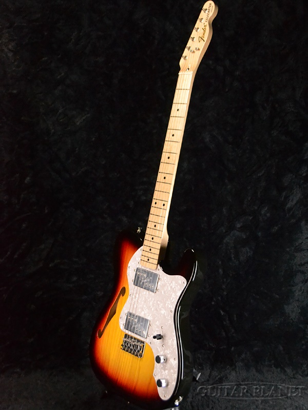 Fender Japan Exclusive Classic 70s Telecaster Thinline 3TS(老型号:TN72)新货3调子太阳爆裂[挡泥板][日本][terekyasutashinrain][3-Tone Sunburst][Electric Guitar,电子吉他]