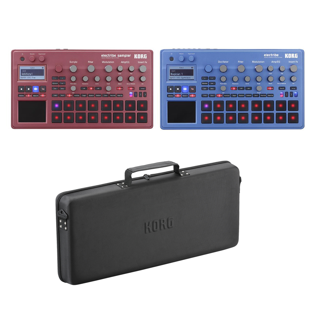 【ケース付セット】KORG ELECTRIBE2S-RD + ELECTRIBE2-BL + DJ-GB-1 新品 シーケンサー/サンプラー[コルグ][エレクトライブ2][Red,Blue,レッド,ブルー,青,赤][ミュージックプロダクションステーション][Sampler/Sequencer]