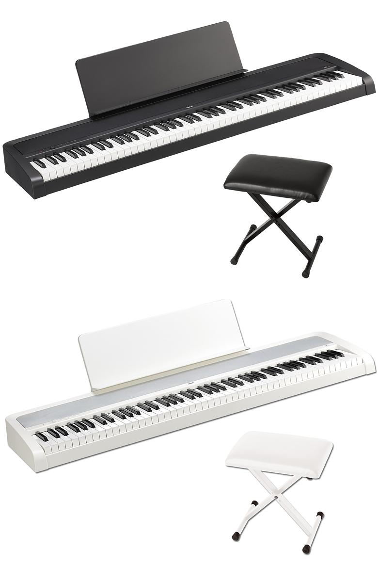 KORG B2 -黒 or 白い- Digital Piano 《専用イス&譜面立て付き!!》 新品 88鍵盤デジタルピアノ[コルグ][スピーカー搭載][黒,白い,ブラック,ホワイト,黒,白][Keyboard,電子ピアノ,キーボード]