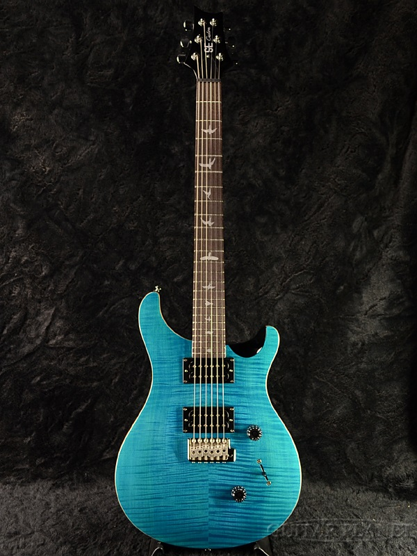 Paul Reed Smith SE Custom24 With Birds New Beveled Maple Top Saphire PRS Custom 24 Blue Sapphire Electric Guitar