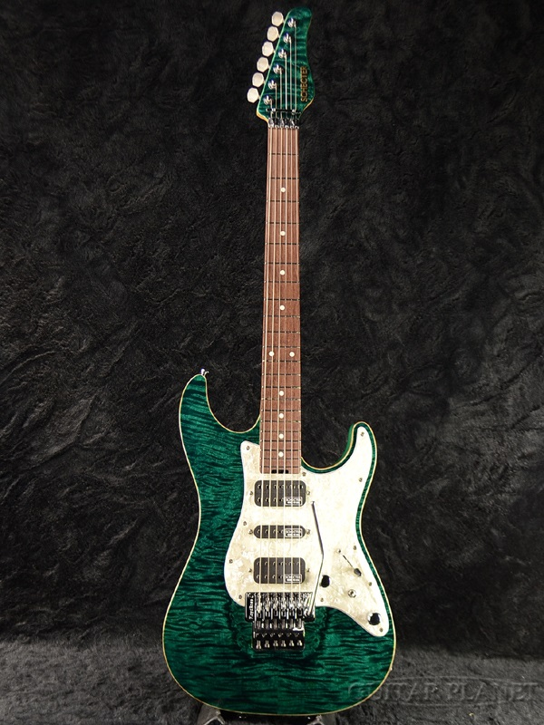 Schecter EX V 22 CTM FRT 4A Grade Black Turquoise Brand New SchecterStratocaster STRAT Caster Type Turkoise Green Electric Guitar