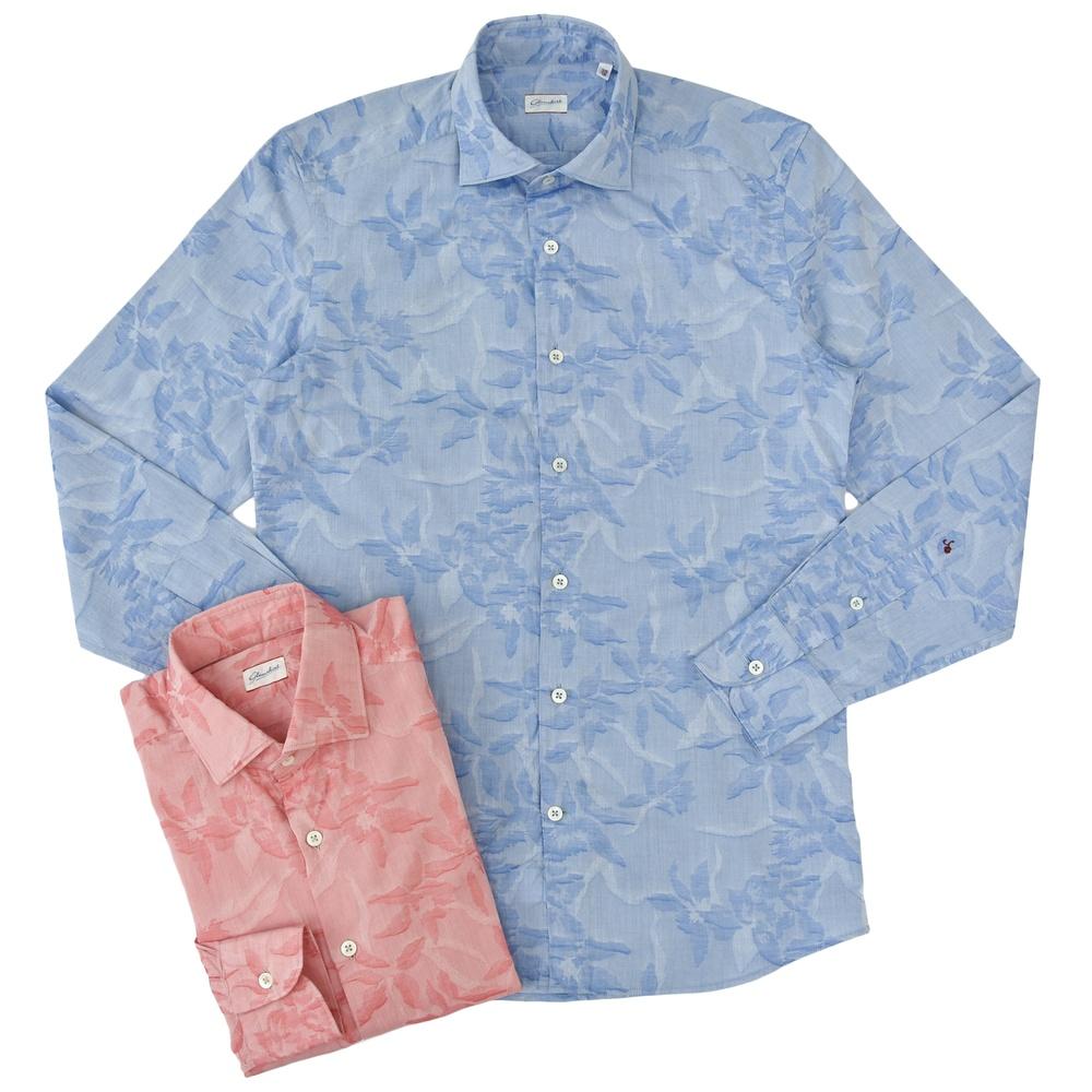Glanshirt(グランシャツ)コットンドビーフラワーワイドカラーシャツ JWEEN 11041002035