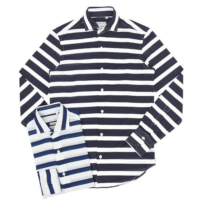 Emme te. Enne(エンメ テ エンネ)コットンボーダーカッタウェイワイドカラーシャツ 1844-800 11051001082