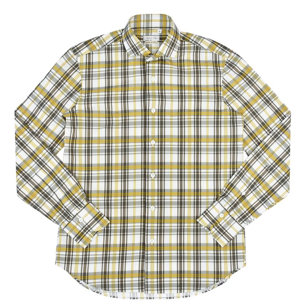 Emme te. Enne(エンメ テ エンネ)コットンマドラスチェックプリントカッタウェイワイドカラーシャツ 11132002082