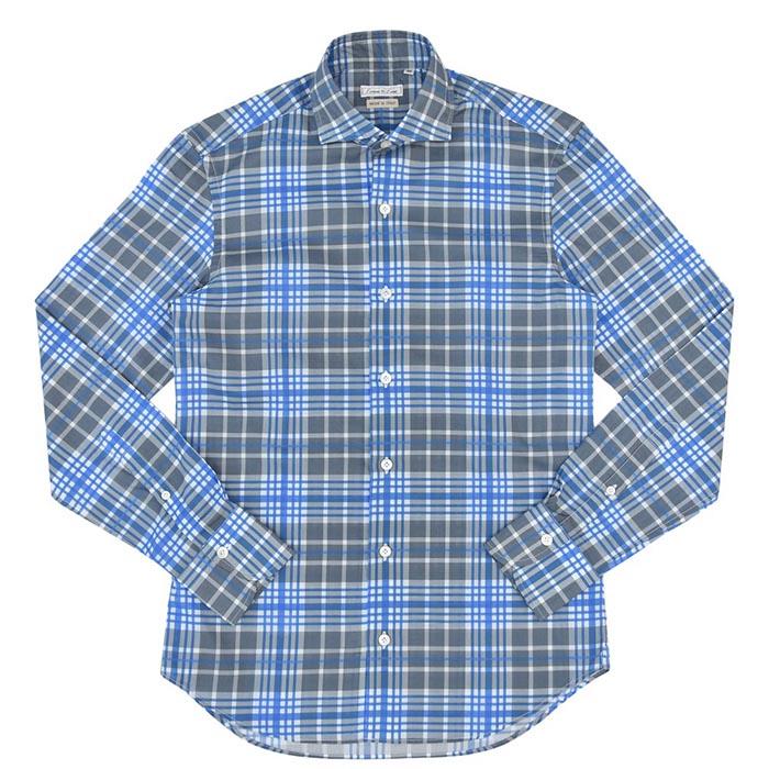 Emme te. Enne(エンメ テ エンネ)コットンマドラスチェックプリントカッタウェイワイドカラーシャツ 11141002082