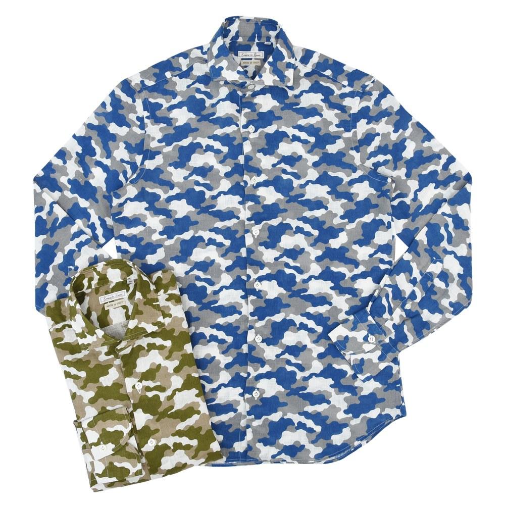 Emme te. Enne(エンメ テ エンネ)リネンカモフラージュプリントカッタウェイワイドカラーシャツ リネンカモフラージュ 11141005082