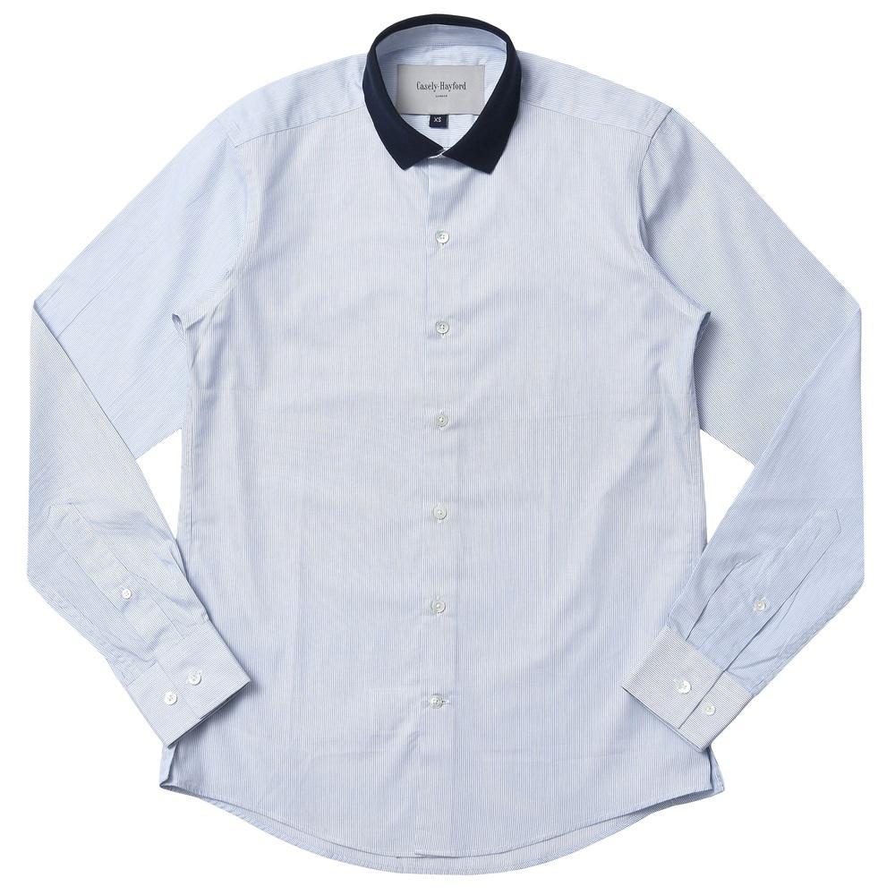 【40%OFF】Casely Hayford(ケースリーヘイフォード)ポロカラー クレリック ピンストライプ シャツ