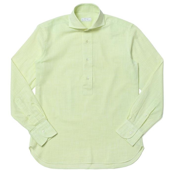 ORIAN(オリアン)リネン ソリッド プルオーバー ワイドカラーシャツ 02PU83
