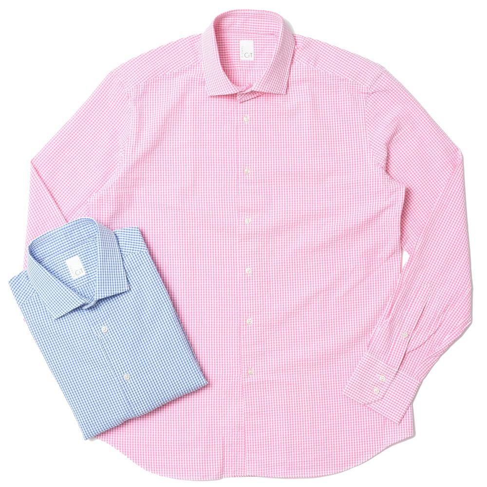 CIT LUXURY(チットラグジュアリー)ウォッシュド コットン サッカー ギンガム ワイドカラーシャツ TOKIO SEERSUCKER GGM-CHK 31041002054