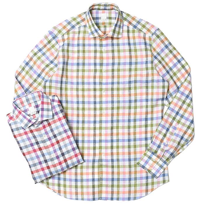 CIT LUXURY(チットラグジュアリー)ウォッシュド リネン ブロックチェック ワイドカラーシャツ TOKIO LNN MLT BLOCK-CHK 31041003054
