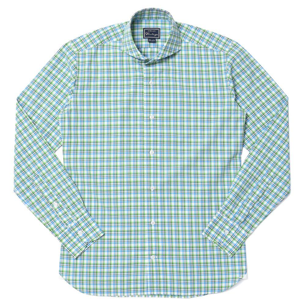 ORIAN(オリアン)コットンタータンチェックウォッシュドワイドカラーシャツ 02Q528