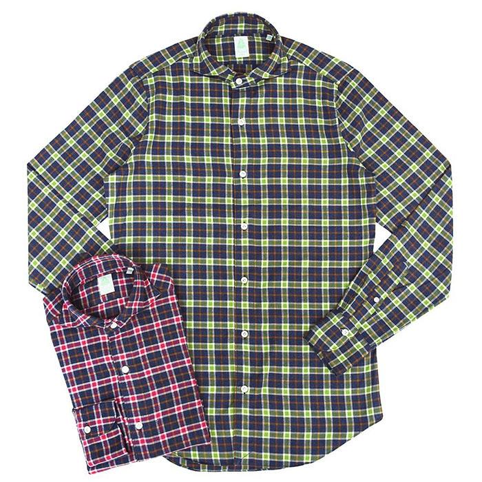 Finamore(フィナモレ)SIMONE ライトネルコットン タータンチェック ウォッシュドワイドカラーシャツ