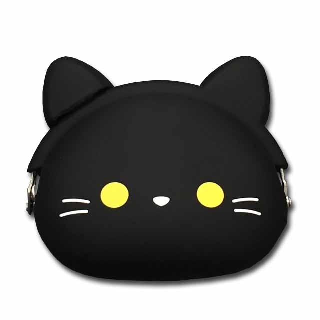 メール便対応 小物入れにも使えます シリコンがま口 mimi おトク POCHIGMC502 クロ クロネコ 猫 ☆☆☆☆ コインケース 新品 送料無料 小銭入れ
