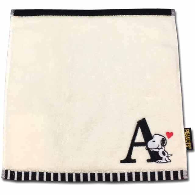 プレゼントに人気です 送料無料でお届けします スヌーピー イニシャルミニタオル ☆☆☆☆ Aアルファベット 新商品 タオル