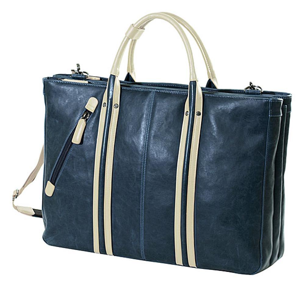 おしゃれなトートバッグです ネコポス不可 BAGGEX ヴィンテージ ビジトート三層 ネイビーブルー 返品不可 キャンセル 在庫一掃売り切りセール A 物品 23-5459