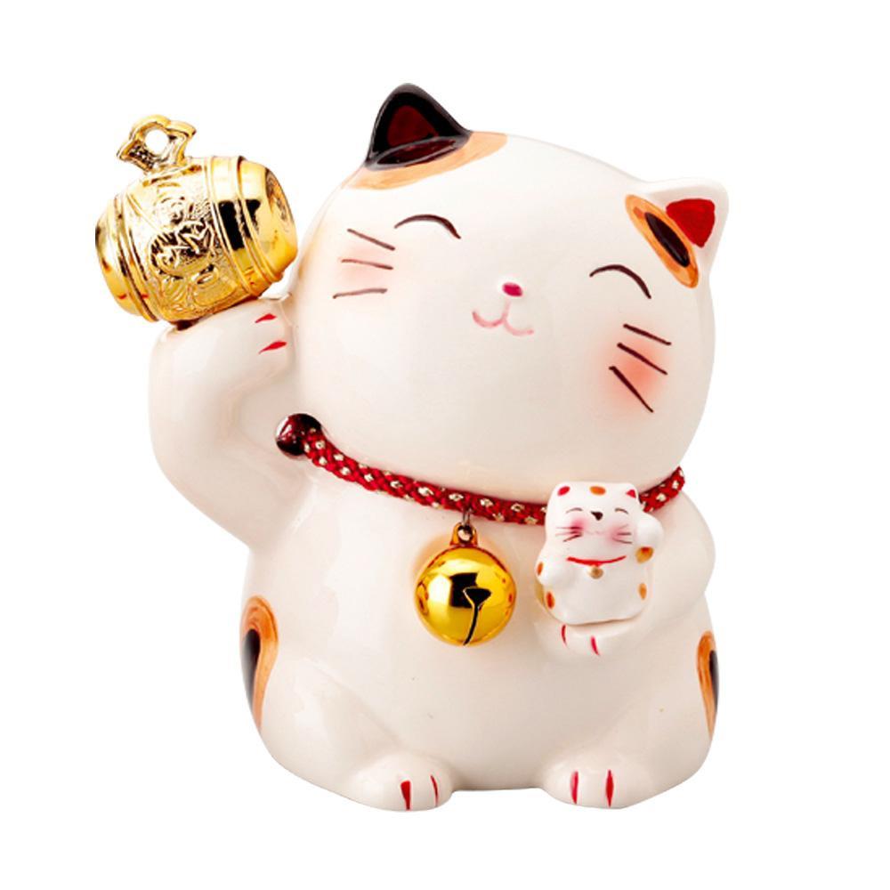 公式 表情がかわいい貯金箱です ネコポス不可 金小槌猫貯金箱 K3568 返品不可 マーケティング キャンセル A