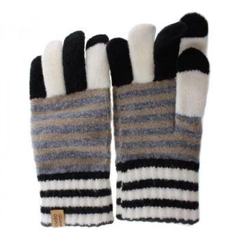 タッチパネル対応の手袋 100円OFFクーポン 3 11 1:59まで 100%品質保証 ネコポス不可 フクシン 卸直営 プレミアムシュークリーム手袋 クロ 211-31 返品不可 ボーダー レディース A 指配色 キャンセル