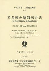 産業細分類別統計表 経済産業局別・都道府県別表 平成25年 工業統計調査
