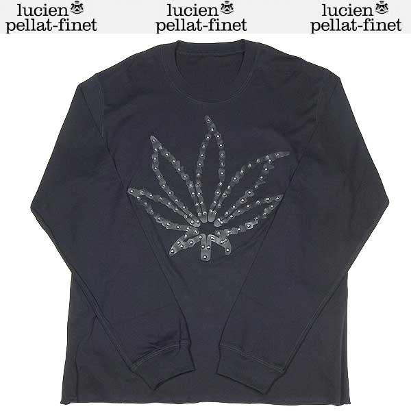 ルシアンペラフィネ lucien pellat-finet メンズ スタッズ ヘンプ リーフ ロング Tシャツ カットソー ブラック EVH1126 BLACK/LEATSTUDS 13S (R157500)【送料無料】【smtb-TK】