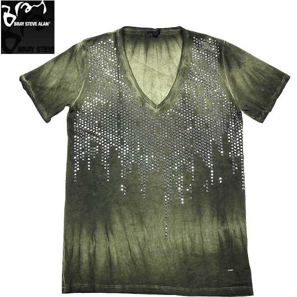【送料無料】 ブレイスティーブアラン(BRAY STEVE ALAN) メンズ ライン ストーン デコレーション 半袖 Vネック Tシャツ 13R6016 58 13S