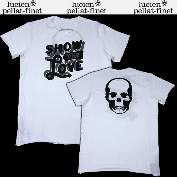 【送料無料】 ルシアンペラフィネ(lucien pellat-finet) メンズ スカル 半袖 Tシャツ ホワイト EVH1122 13S