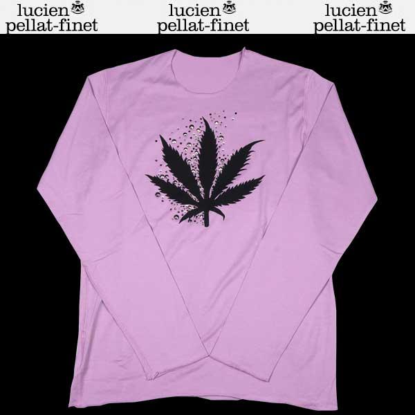 ルシアンペラフィネ lucien pellat-finet メンズ スタッズ ヘンプ リーフ ロング Tシャツ パープル EVH1161 13S【送料無料】【smtb-TK】