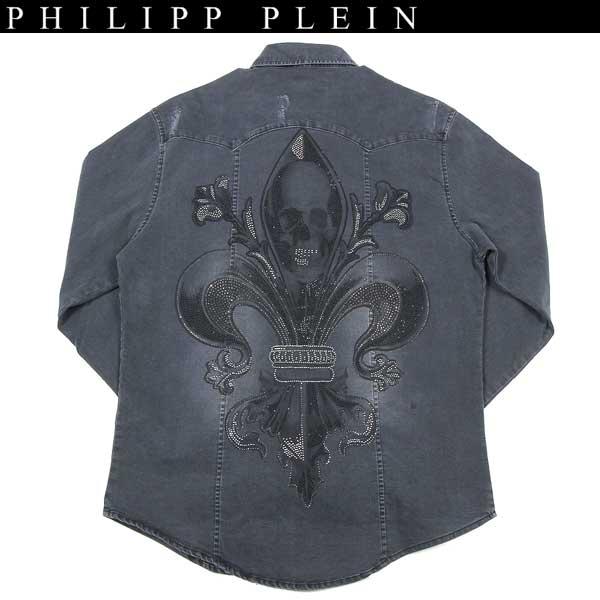 フィリッププレイン PHILIPP PLEIN メンズ スカルデコレーションダンガリーデニムシャツ 2color グレー/ブラック HM8504 GREY/BLACK 13S【送料無料】【smtb-TK】