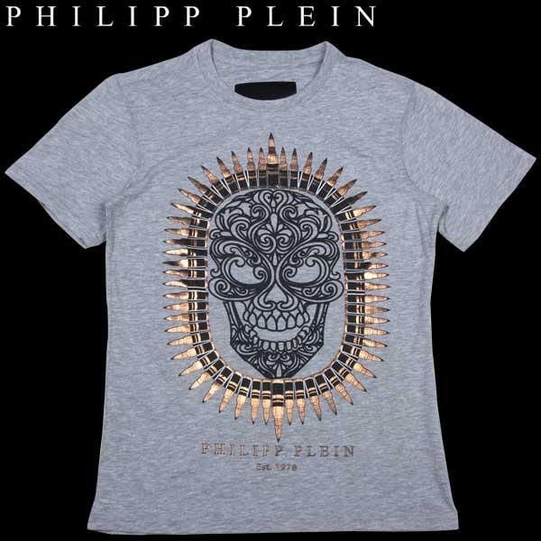 フィリッププレイン PHILIPP PLEIN メンズ スカル プリント 半袖 Tシャツ グレー HM9130 13S【送料無料】【smtb-TK】