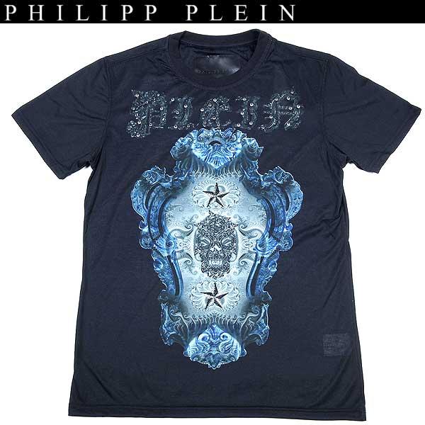 フィリッププレイン PHILIPP PLEIN メンズ ラインストーン スタッズ スカル 半袖 Tシャツ ブラック HM9135 mirrow 13S【送料無料】【smtb-TK】