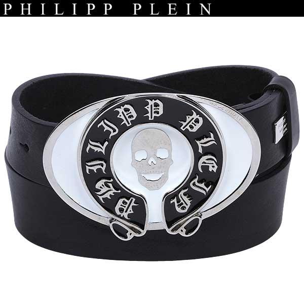 フィリッププレイン PHILIPP PLEIN メンズ スカル バックル ベルト AM710006 0201 BK/WH 13A【送料無料】【smtb-TK】