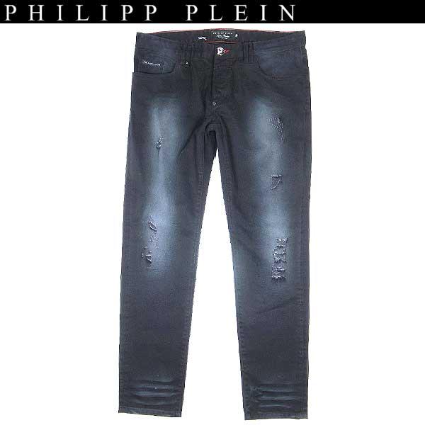 【送料無料】 フィリッププレイン(PHILIPP PLEIN) メンズ クラッシュ カラーデニム ジーンズ スカル