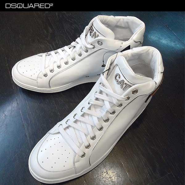 ディースクエアード DSQUARED2 メンズ レザー ハイカット スニーカー 靴 ホワイト W13 SN403 V035 13A (R95800)【送料無料】【smtb-TK】