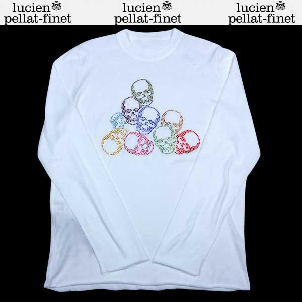 ルシアンペラフィネ lucien pellat-finet メンズ ラインストーン スカルモチーフ カットソー ロング Tシャツ ホワイト AT1802H 13A (R163000)【送料無料】【smtb-TK】