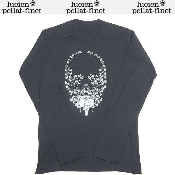 ルシアンペラフィネ lucien pellat-finet メンズ スカル 長袖 カットソー ロング Tシャツ ブラック/シルバー EVH 1244 13A (R39123)【送料無料】【smtb-TK】