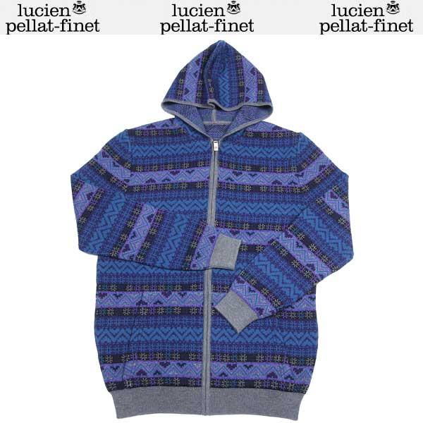 【送料無料】 ルシアンペラフィネ(lucien pellat-finet) メンズ スカル カシミヤ ジャガード編み ジップアップパーカー ブルー/グレー AM 116 COL.2 13A