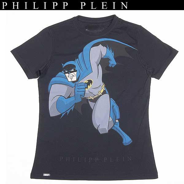 【送料無料】 フィリッププレイン(PHILIPP PLEIN) メンズ ラインストーン バットマン 半袖 クルーネック Tシャツ WM13 HM340081 02 13A