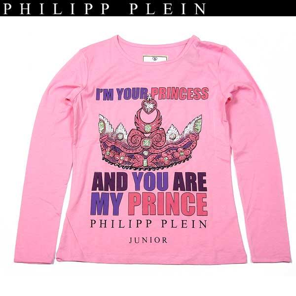 フィリッププレイン PHILIPP PLEIN ジュニア ラインストーン 長袖 Tシャツ ピンク KG622002 03 13A【送料無料】【smtb-TK】