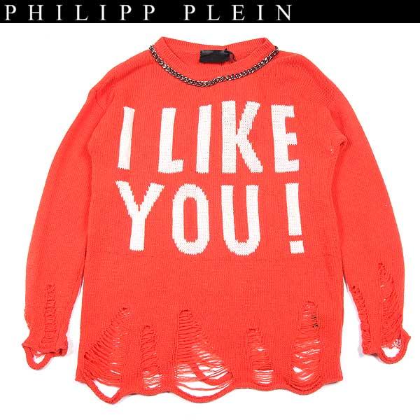 フィリッププレイン PHILIPP PLEIN レディース チェーンデコレーション ウール セーター カットソー オレンジ CW310009 20 13A【送料無料】【smtb-TK】