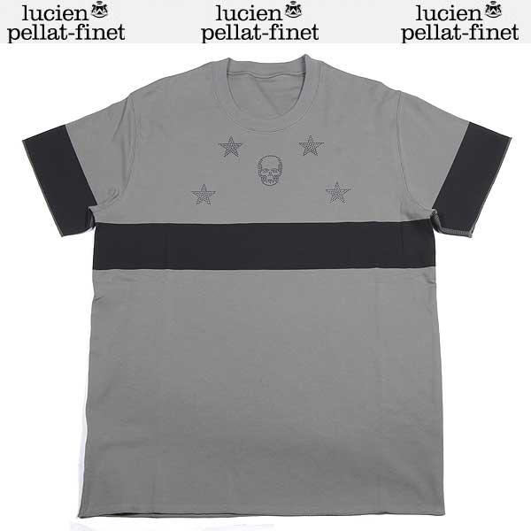 ルシアンペラフィネ lucien pellat-finet メンズ ラインストーン スカル 半袖 Tシャツ EVH1318 ASH/BLACK DB13A【送料無料】【smtb-TK】