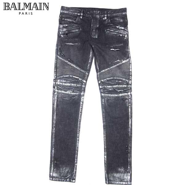 バルマン BALMAIN メンズ シルバーコーティング バイカーデニム スキニー ジーンズ S4HT500 B983S 191 14S【送料無料】【smtb-TK】
