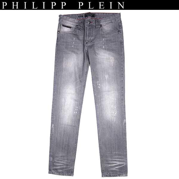 【送料無料】 フィリッププレイン(PHILIPP PLEIN) メンズ クラッシュ加工 ストレートジーンズ デニム