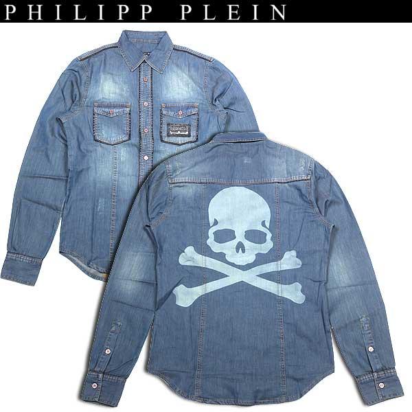 フィリッププレイン PHILIPP PLEIN メンズ スカル デニム シャツ ダンガリー marion SS14 HM331160 08BS blue splnt 14S【送料無料】【smtb-TK】