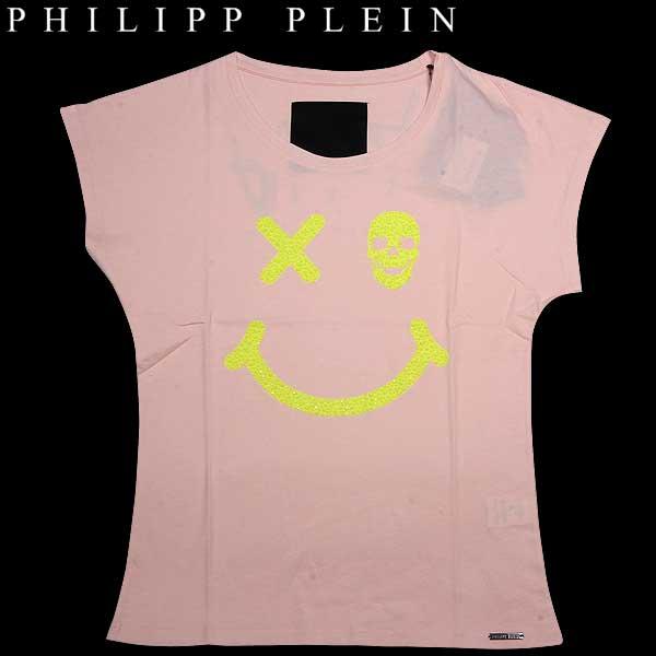フィリッププレイン PHILIPP PLEIN レディース ラインストーンスマイル 半袖 Tシャツ