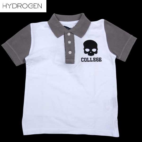 ハイドロゲン キッズ 子ども 子供 子供用 スカル 半袖 ポロ シャツ 146014 001 BIANCO 14S
