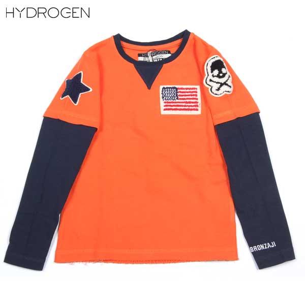 ハイドロゲン HYDROGEN 子ども 子供 キッズ BRONZAJI スカル 長袖 Tシャツ ロンT 重ね着風 オレンジ14B008 010 ARANCIO DB14S (R14700)