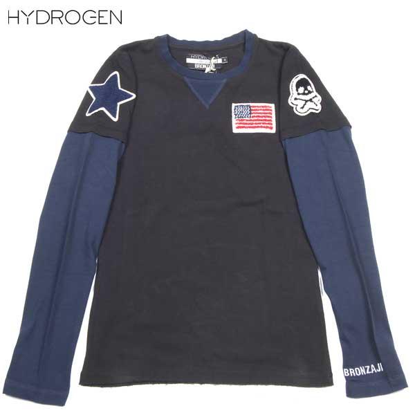 ハイドロゲン HYDROGEN レディース BRONZAJI スカル 長袖 Tシャツ ロング Tシャツ 重ね着風 黒ブラック 149004 007 NERO DB14S (R19950)